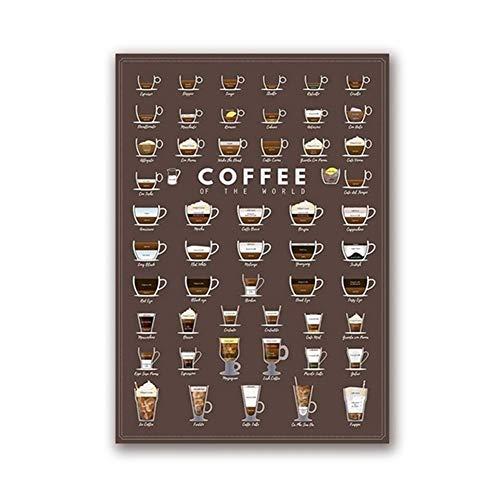 Battle of the peak Leinwand Gemälde Kaffeetypen Wandkunst Drucke Und Poster Kaffeekarte Espresso Leinwand Malerei Wandbilder Küche Kunst Cafe Decor Kein Rahmen (Color : B, Size (Inch) : 42x60 cm) - Espresso Leinwand