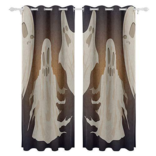 (Happy Halloween Geist Geist einseitige Druck Blackout Vorhänge Vorhänge Fenster Behandlung Duschvorhang Panels Für Schlafzimmer Wohnzimmer Küche Bad 55 X 78 Zoll 2 Stücke)