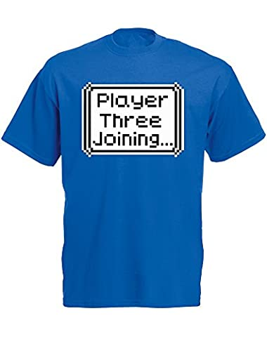 Player Three Joining..., Imprimé des hommes T-shirt - Bleu/Transfert 2XL