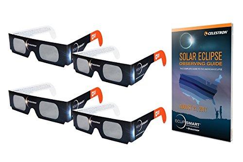 Solar Shades Observing Kit : Celestron EclipSmart Solar Shades Observing Kit Includes Four ISO Certified Solar Eclipse Glasses & 2017 Total Solar Eclipse Guidebook