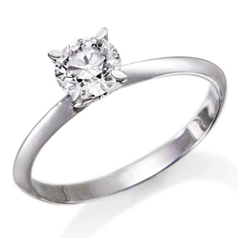 1/3 ctw. Round Diamond Solitaire Engagement Ring in 18k White Gold