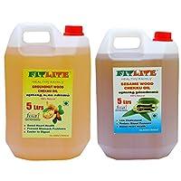 FITLITE Combo Mega Pack Groundnut Wood Chekku Oil 5 LTR + Sesame Chekku Oil 5 LTR