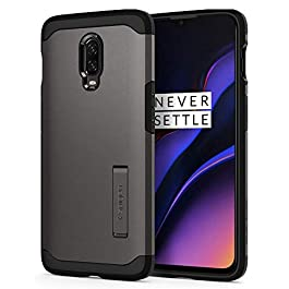 Spigen, Case Compatible for OnePlus 6T [Tough Armor] Reinforced Kickstand Tough Protection Air Cushion Technology Phone Cover for OnePlus 6T Case- [Gunmetal]