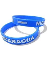 Unisex País Bandera nacional de silicona pulsera de goma de moda pulsera brazalete (Nicaragua)