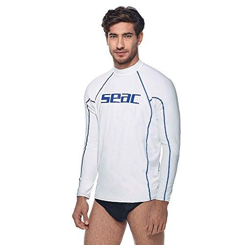 SEAC - Maglia anti UV a maniche lunghe da uomo, bianco (weiss/blau), XL