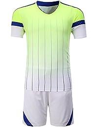 KINDOYO Equipo de Manga Corta de fútbol Traje de los Hombres Traje de Manga  Corta Camiseta Trajes de Entrenamiento de Partido de… b4dac0dfd8d23