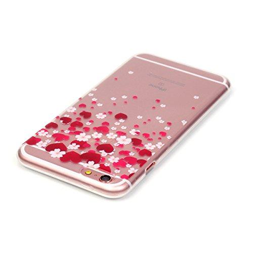 Etui pour Apple iPhone 6 Plus / 6s Plus (5.5 pouces), HB-Int 3 en 1 Housse TPU Bleu Plume Originale Motif Coque Gel Silicone Souple Couverture Légère Slim Flexible Coque Protecteur Fonction Anti Choc  Coeur