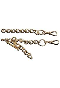 Bernex Gold Plated 14 Inch Double Heavy T-Bar Albert Pocket Watch Chain