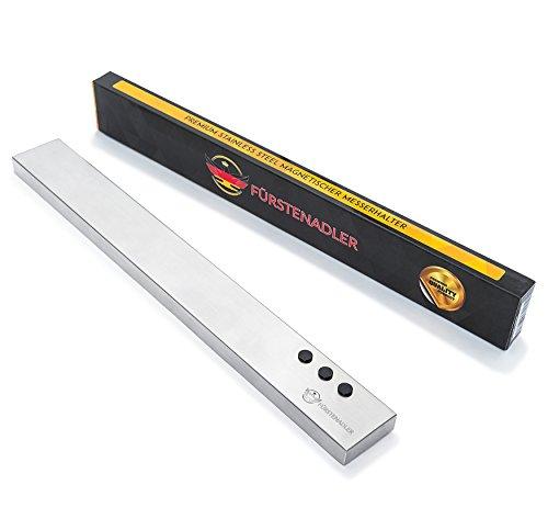 FÜRSTENADLER Magnetischer Messerhalter | 100% Rostfreier Edelstahl | Ultrastarke Neodym Magneten - Bis 2,5 Kg Tragekraft | Küchenmesserhalter | Messerleiste - Magnetleiste für Messer | 40 cm | 3 praktische edle MAGNETE GRATIS