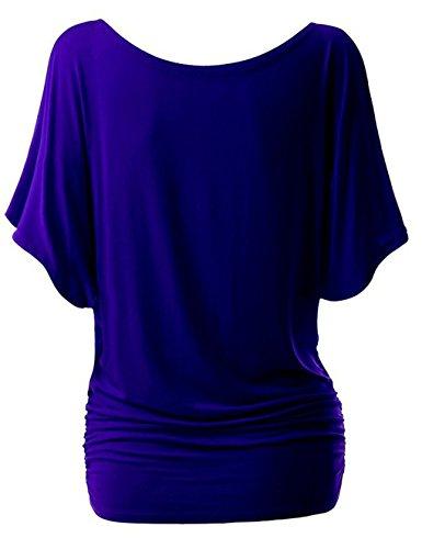 Camicia Maniche Pipistrello Magliette Manica Corte Donna Casual Basic T-Shirt Estive Oversized Girocollo Tops Tinta Unita – Landove Blu