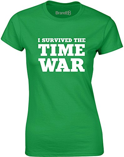 Brand88 - I Survived the Time War, Gedruckt Frauen T-Shirt Grün/Weiß
