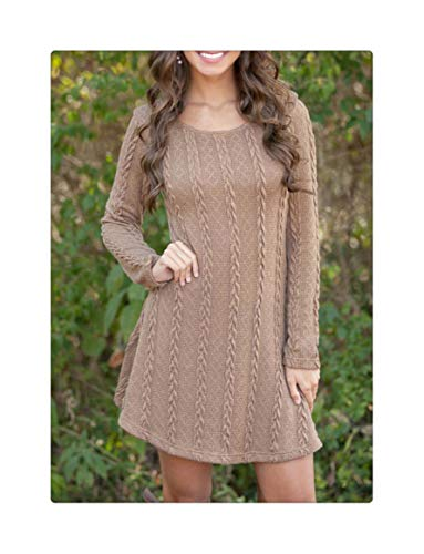 Women Causal Plus Size S-5XL Short Sweater Dress Female Autumn Winter White Long Sleeve Loose Knitted Sweaters Dresses Brown 4XL -