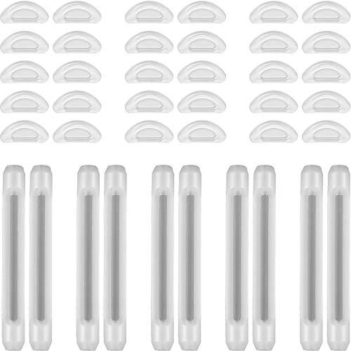 15 Paare Brillen Nasen Pads, Selbstklebende Silikon Nasen Pads und 5 Paare Antirutsch Hüllen für Brillen Gläser, Sonnenbrillen (Klar)