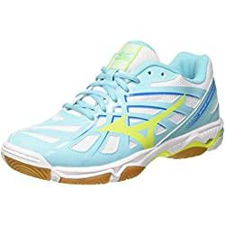 Mizuno Wave Hurricane Wos, Zapatos de Voleibol para Mujer, Multicolor (White/Safetyyellow/Blueradiance), 38.5 EU