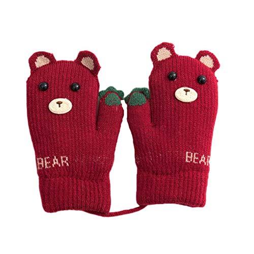 Beaums Jungen-Mädchen-Karikatur-Bär-Warm Strickhandschuhe Hanging Neck Kinder Baby-Winter-Weihnachtsgeschenk-Handschuhe