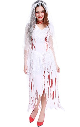 Honeystore Damen's Halloween Zombie Braut Kleid Kostüm Vampir Cosplay Karneval Fasching Kostüm One Size Weiß (Gefallener Engel Kostüm Herren)