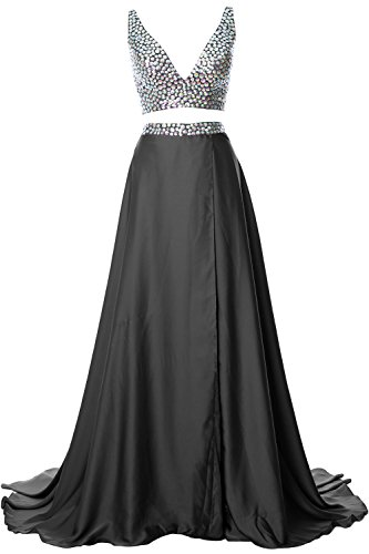 MACloth Gorgeous 2 Piece Long Prom Dress Straps V Neck Formal Party Evening Gown gray