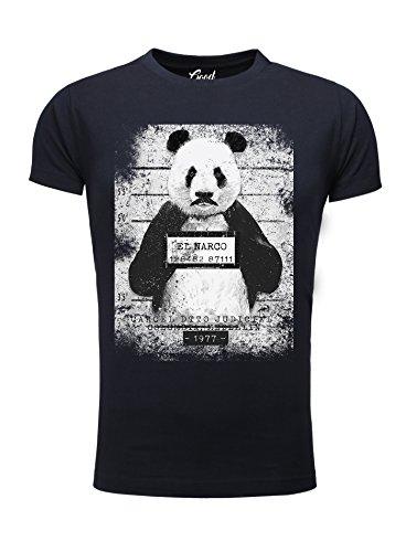 Herren T-Shirt Goodflow Slim Fit Narcos Panda Rundhals kurzarm Navy
