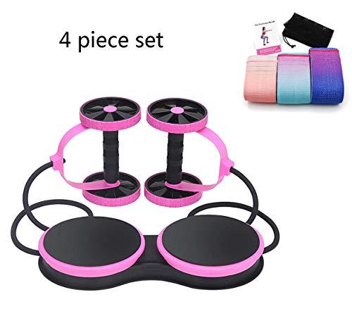 HLeoz Doppelrollen ab Roller Bauchtrainer mit Widerstand Band Pull Seil Taille Trimmer Und 3 Yoga-Widerstandsbänder,Pink