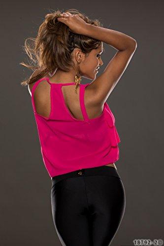 Fashion4Young 5215 débardeur pour femme top chiffon avec bretelles-layer-look-disponible en 4 couleurs Rose - Rose bonbon