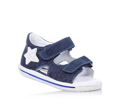 FALCOTTO - Sandalo blu scuro in tessuto denim, ideale per il primo passo e per il gattonamento, con doppia chiusura a strappo, Bambino, Ragazzo-19