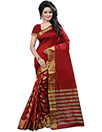 Deepjyoti Creation Women's Cotton Silk Saree With Blouse Piece (Dps-1157Tt_Maroon)