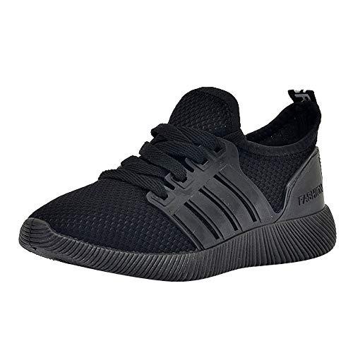 GongzhuMM Chaussures de Sport pour Étudiant Baskets Hommes Mocassins Sneakers Respirante Chaussures de Course Garçon Noir/Rouge 39-42.5 EU