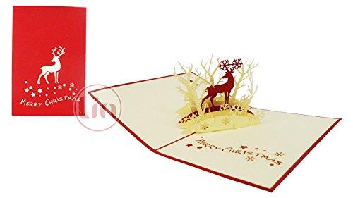 Lin Carte 3D pop up carte de voeux Cartes de Noël Renne dans la forêt (# 417)