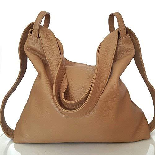 Damen lederrucksack tasche hellbraun handgemacht italenischen
