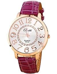0afa7760545e Reloj de pulsera - Batti ZA-23 reloj de pulsera unisex de cuero de imitacion