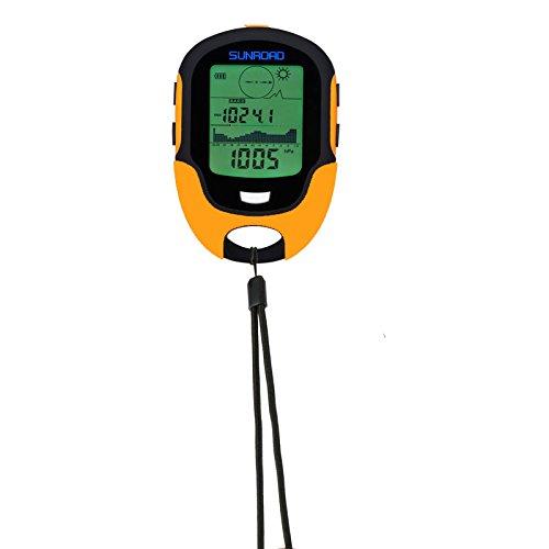 Sunroad, FR500, Dispositivo Digitale Multifunzione, con altimetro, Barometro, Bussola, Termometro, Igrometro, Previsioni Meteo, Torcia LED, Colore Orange, Taglia Unica