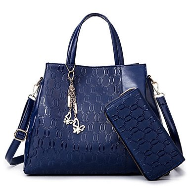 La donna pu formale Ufficio Outdoor & Carriera Set borsa blu nero oro,blu Blue