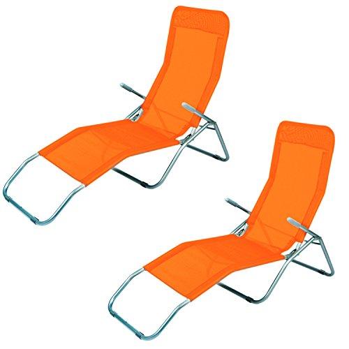 Mojawo 2er Set Sonnenliege Saunaliege Strandliege Orange Relaxliege Gartenliege Liegestuhl Kippliege