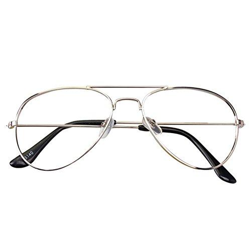 Aviator Retro Gläser für Kinder - Jungen und Mädchen Keine Objektive Gläser Metall Brillenfassung Klassisches Brille mit Auto Form Brillenetui