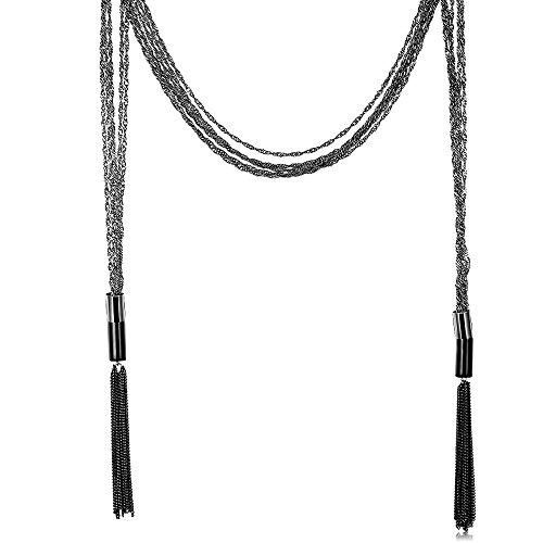 Romantische Mischung (CATS Geometrische Weibliche Romantische Kupferkabel-Kettenanhänger-Halskette Übertriebene Mischung und Matchstraßen-Art und Weisestrickjackekette, Schwarz lackierte Waffe)