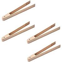 BESTONZON 4 unids Pinzas de Cocina de bambú Pinzas de Ensalada de Pan Tostado para cocinar Pan Tostado Barbacoa Parrilla de freír para Hornear (20 CM)