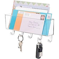 mDesign Portalettere e appendichiavi – Bacheca chiavi con 5 ganci ed 1 vano portariviste - Il modo più pratico per organizzare chiavi, posta e giornali – trasparente
