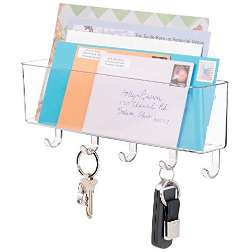 mDesign Briefablage und Schlüsselleiste - für ordentliche Aufbewahrung von Schlüssel, Briefe, Prospekte - Organizer Eingangsbereich, Schlüsselbrett mit Ablage - Farbe: durchsichtig -
