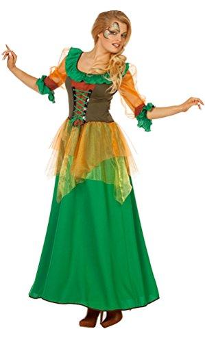 Karneval-Klamotten Waldfee Kostüm Damen Herbstfee Fee Damen-Kostüm grün lang Elfe-n Kostüm Größe ()