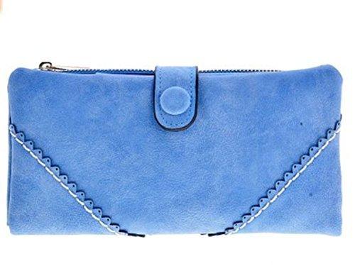 Preisvergleich Produktbild Lsv-8 Damen Leder PU Geldbörse Geldbeutel Portemonnaie Lang Damenhandtasche mit Knopf Eingeschliffen Retro- Spitzen Elegant Geldbörse Hellblau