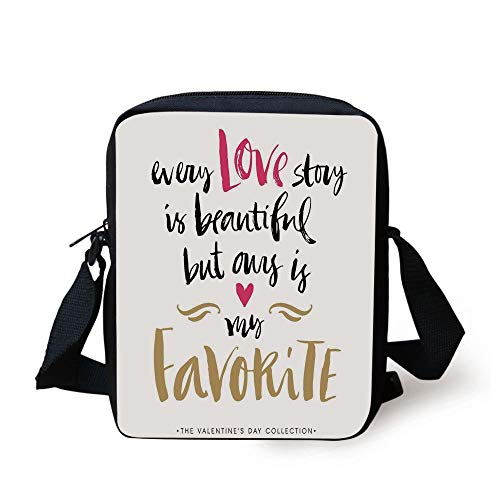 Valentines Day,Every Love Story is Beautiful but Ours is My Favorite Romantic Idea,White Black Pink Print Kids Crossbody Messenger Bag Purse