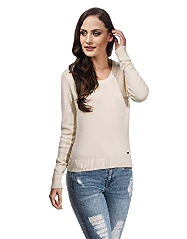 Vincenzo Boretti Short Woman's Jumper with ribbed round neck,ecru,Large