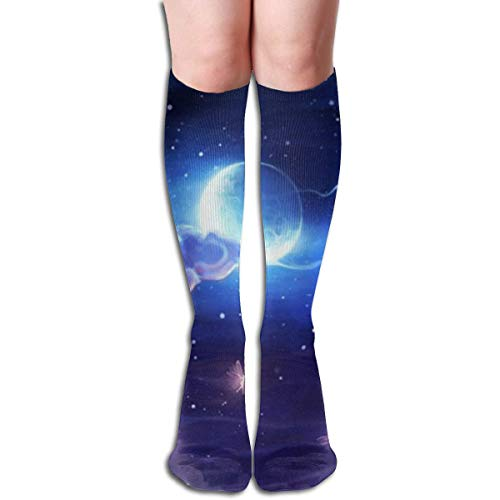Gped Kniestrümpfe,Socken, Women's Socks Knee High Thigh Long Stocking Cloud Butterfly Moon Winter Warm Sexy Stocks