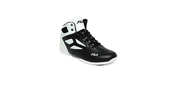 8e4a48f6afab FILA Men Black   White Rim Loop Perforated High-Top Basketball Shoes (9UK)   Buy Online at Low Prices in India - Amazon.in