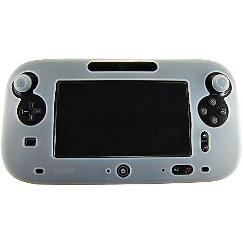 Pandaren® della pelle skin cover in silicone per il controller tablet di Nintendo Wii U (bianco) + presa pollice thumb grips x 2