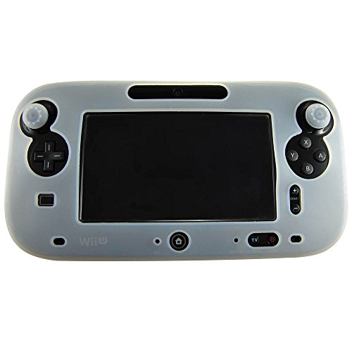 Pandaren® Silikon Skin Cover hülle für Nintendo Wii U Tablet Controller (weiß) + thumb grips aufsätze x 2