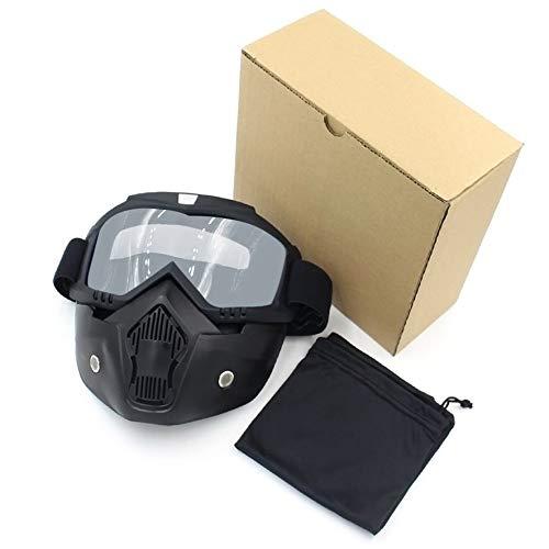 LmqhGzuqume Reitschutzhelm Abnehmbarer Maske Brille Flexible Gesichtsmaske Brille (schwarz Rahmen silbrig Lens) -