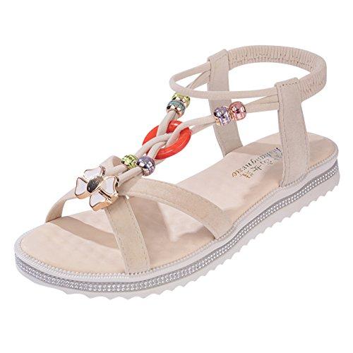 Fashion Lady Sandals/Talons bas été perlée open toe shoes/étudiant Joker Sandy chaussures A