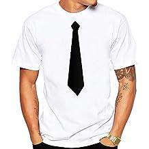 JiaMeng Camiseta de Manga Larga con Estampado Moda Camiseta con Interesante Traje de Corbata Blusa Superior