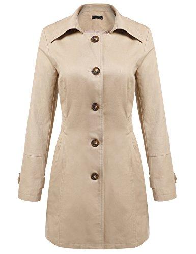 ACEVOG Damen Trenchcoat Lang Mantel mit Gürtel Übergangs Jacke Freizeitjacke Winter Frühlingmantel Windbreaker